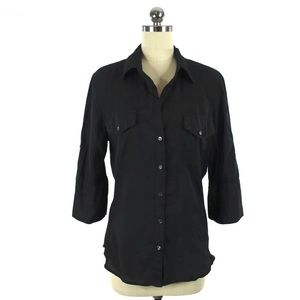 James Perse Black Contrast Ribbed Panel Shirt